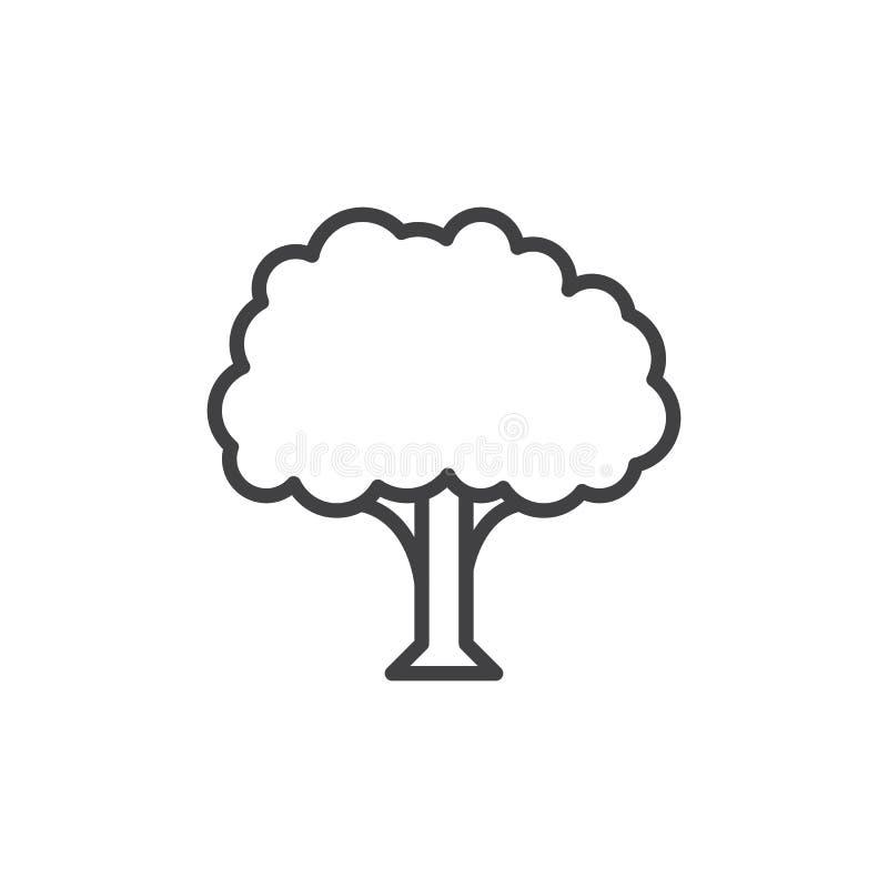Drzewnej linii ikona, konturu wektoru znak, liniowy stylowy piktogram odizolowywający na bielu ilustracji