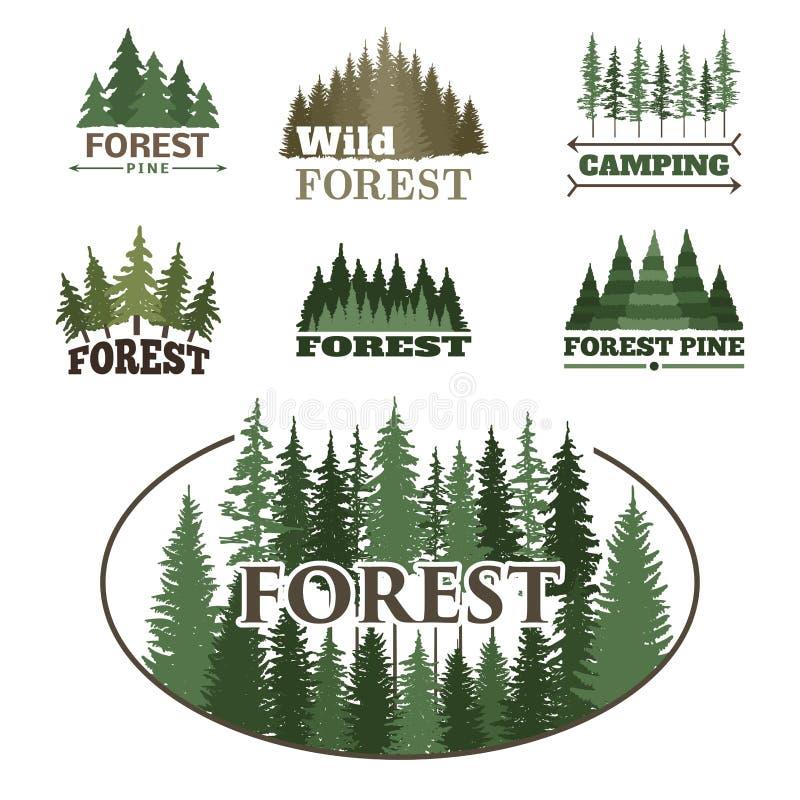 Drzewnej plenerowej podróży zieleni sylwetki lasowej odznaki loga iglasta naturalna odznaka nakrywa sosnowego świerkowego wektor ilustracja wektor