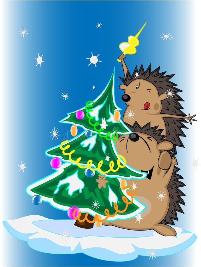 drzewni Boże Narodzenie jeże royalty ilustracja