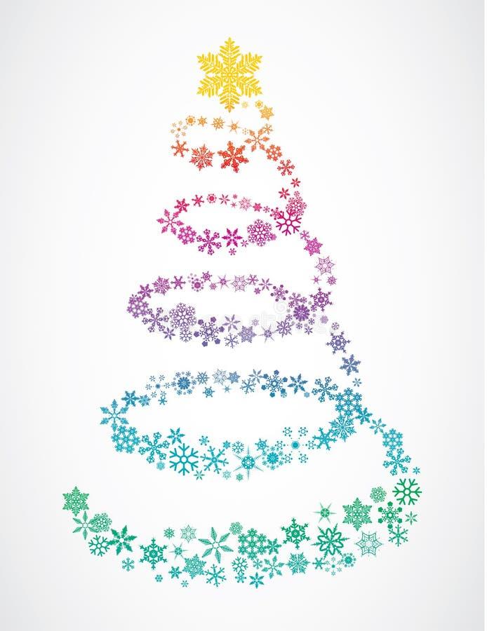 drzewni Boże Narodzenie płatek śniegu ilustracji