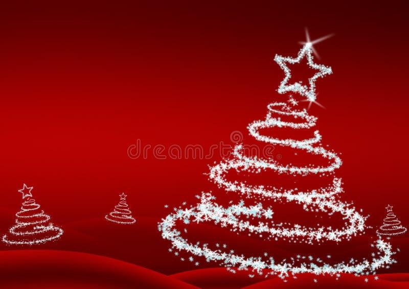 drzewni Boże Narodzenie płatek śniegu ilustracja wektor
