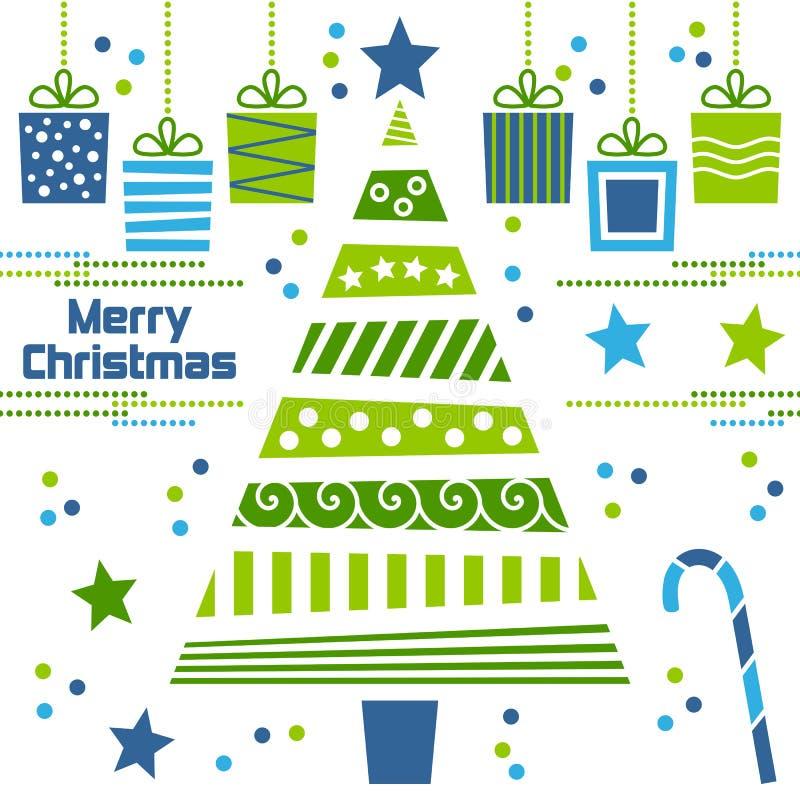 drzewni Boże Narodzenie prezenty royalty ilustracja