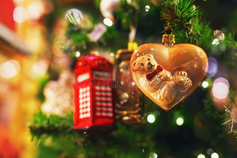 drzewni bokeh bożonarodzeniowe światła obraz stock
