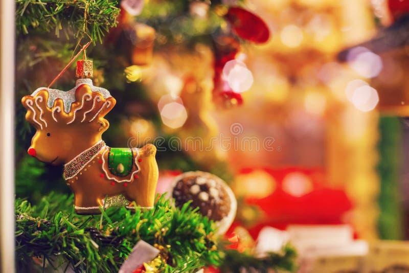drzewni bokeh bożonarodzeniowe światła fotografia stock