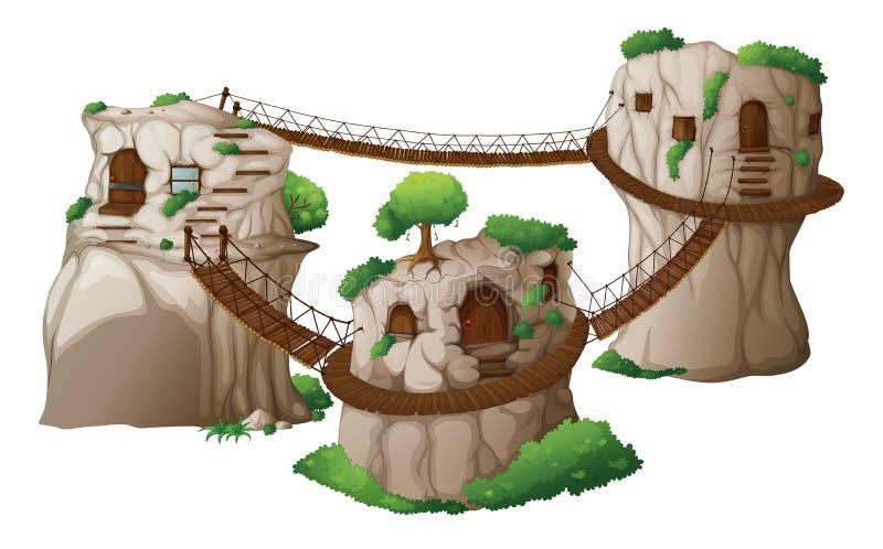 Drzewni domy z wiszącymi mostami ilustracja wektor