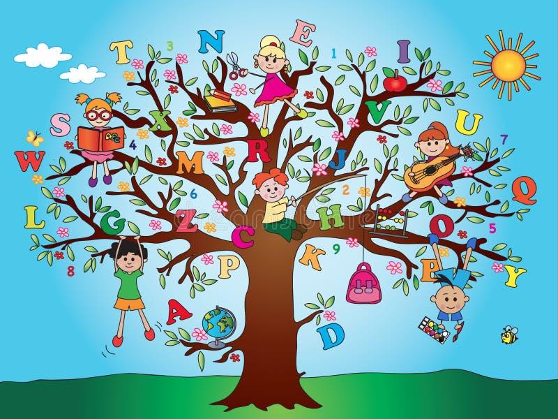 Drzewni dziecko w wieku szkolnym ilustracji