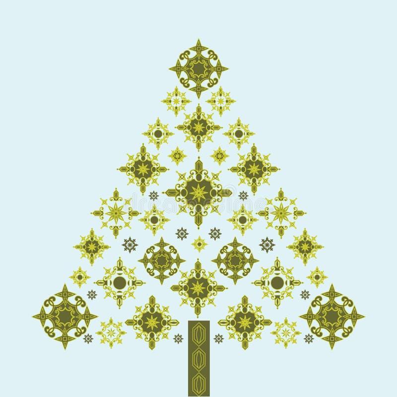 drzewni ostrzy Boże Narodzenie płatek śniegu royalty ilustracja