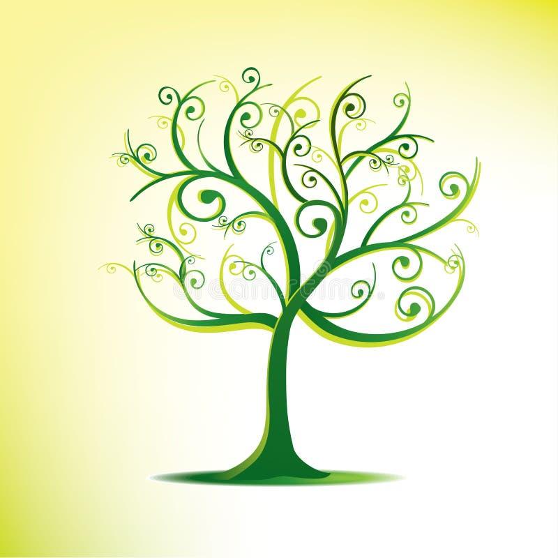 drzewni stylizowani zawijasy royalty ilustracja