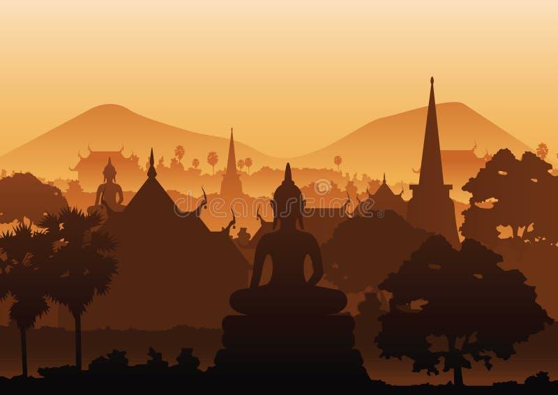 Drzewny świątynny wizerunek Buddha rzeźby pagody morze ilustracja wektor