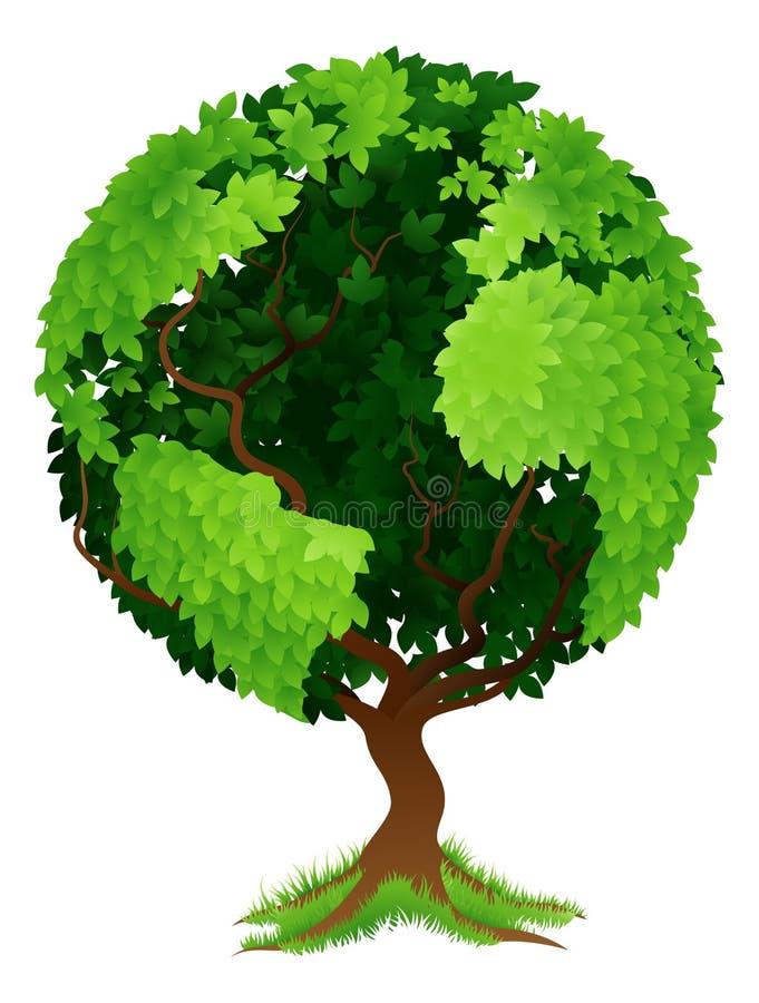Drzewny Światowy kuli ziemskiej ziemi pojęcie royalty ilustracja