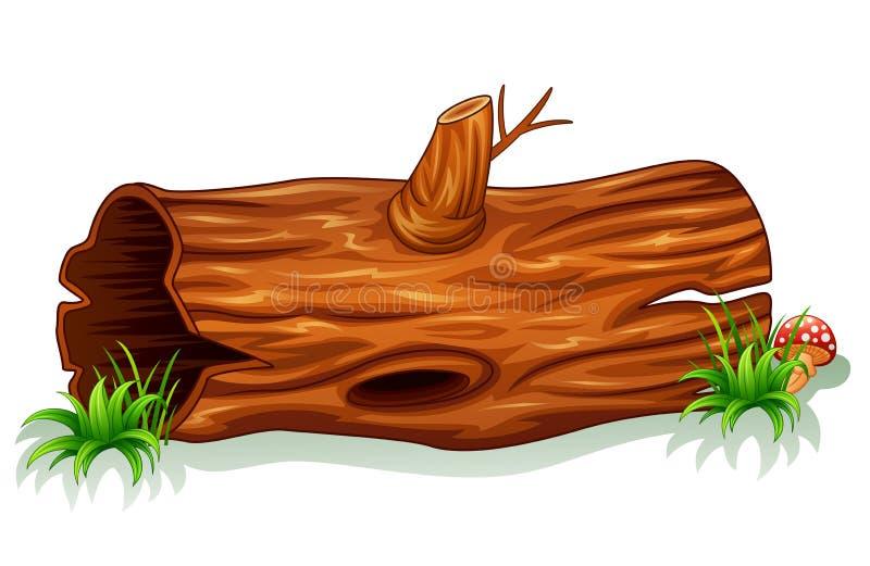 Drzewny bagażnik z pieczarką ilustracji
