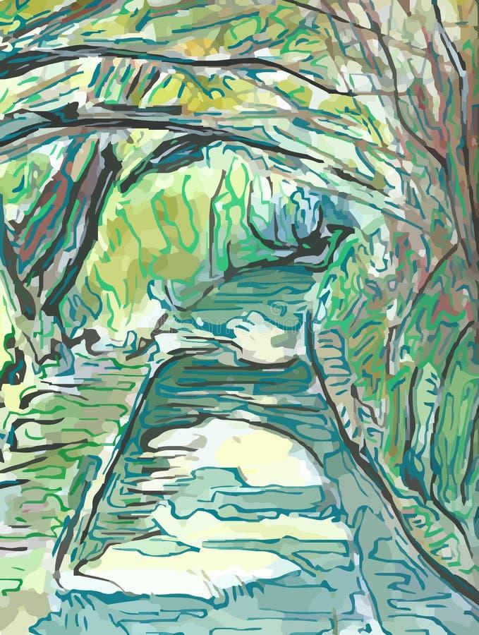 Drzewny baldachim Nad kraju pasem ruchu ilustracja wektor