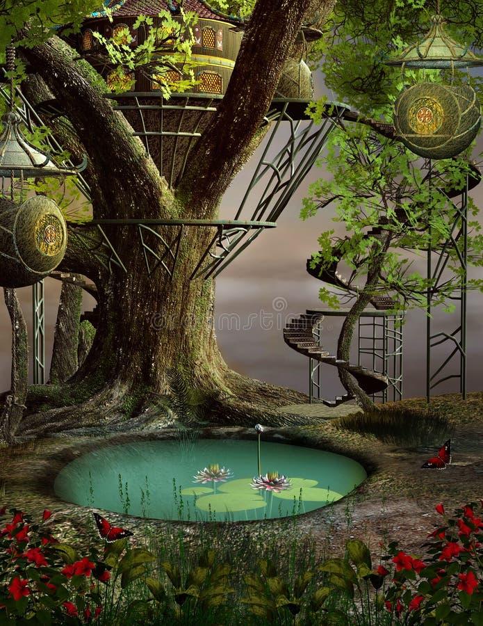 Drzewny dom ilustracji