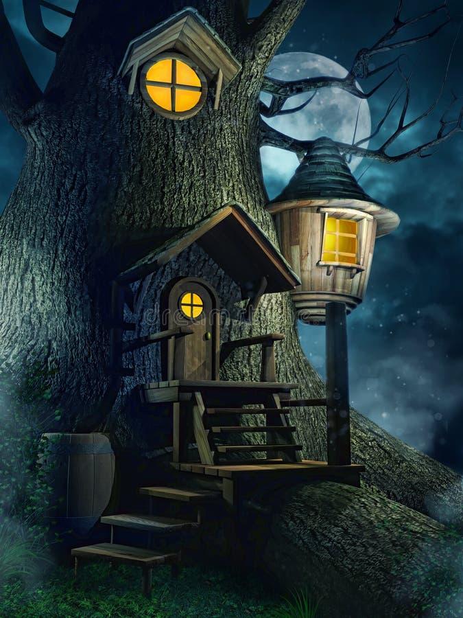 Drzewny dom przy nocą ilustracji