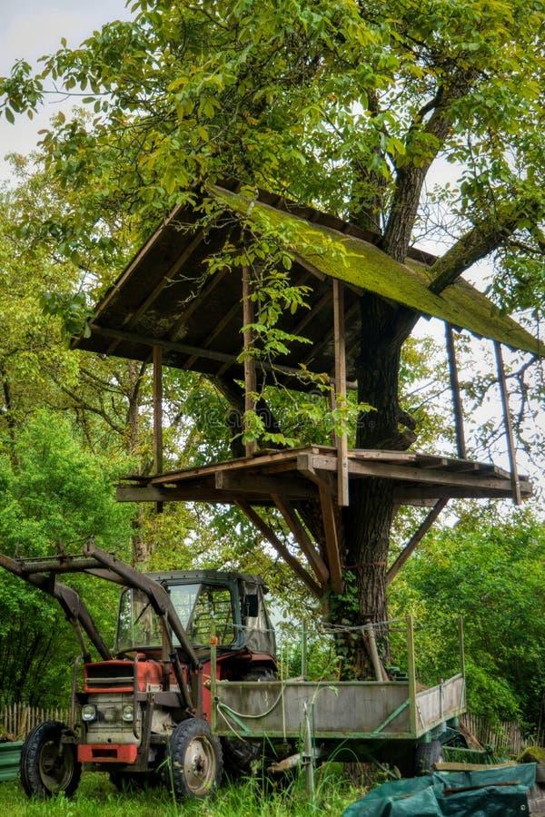 Drzewny dom wzdłuż długodystansowego wycieczkuje śladu Neckarsteig zdjęcie stock