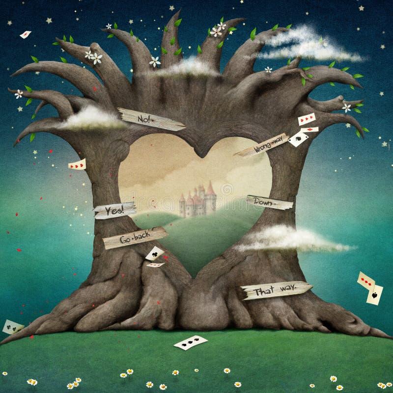 Drzewny dudniący serce royalty ilustracja