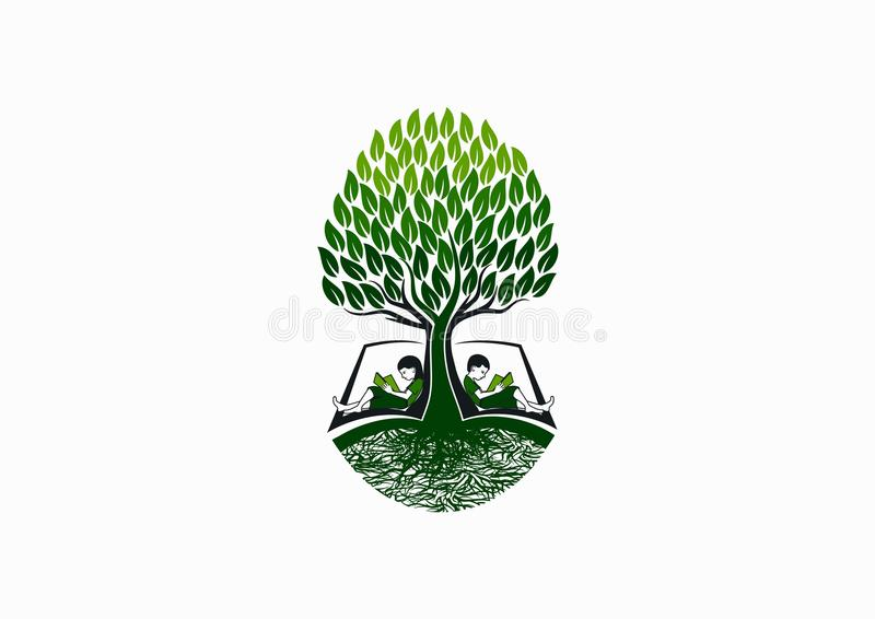 Drzewny edukacja logo, wczesna książkowa czytelnik ikona, szkolny wiedza symbol i natury dzieciństwo, studiujemy pojęcie projekt ilustracja wektor