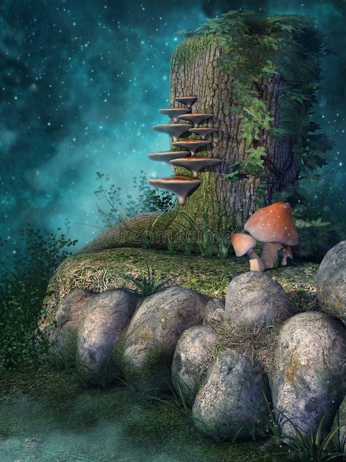 Drzewny fiszorek i skały royalty ilustracja