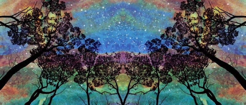Drzewny gaj pod zorzy niebem ilustracja wektor