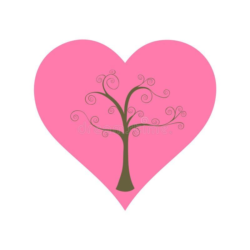 Drzewny i duży serce obrazy stock