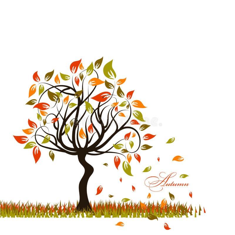 Drzewny jesieni tło,  ilustracji