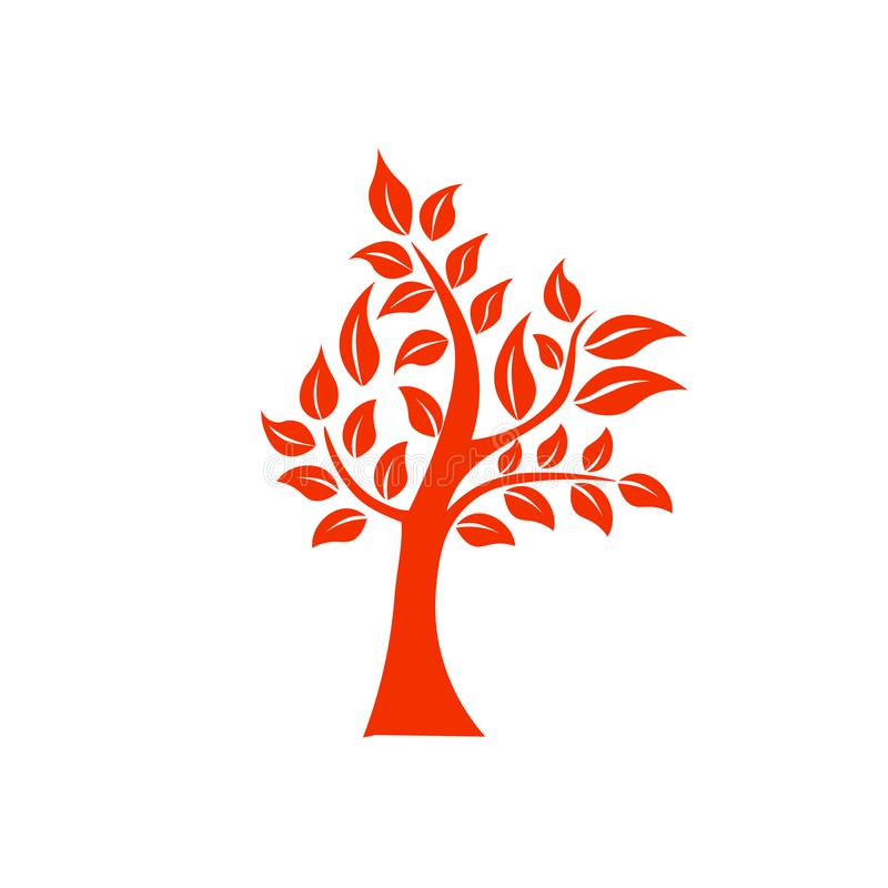 Drzewny kształta i foem symbol Pomarańczowego drzewa ikony wektorowy logo odizolowywający Naturalny eco produktu logo royalty ilustracja