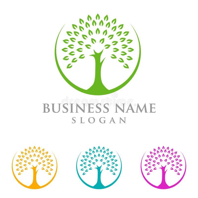 Drzewny logo, loga projekt ilustracji