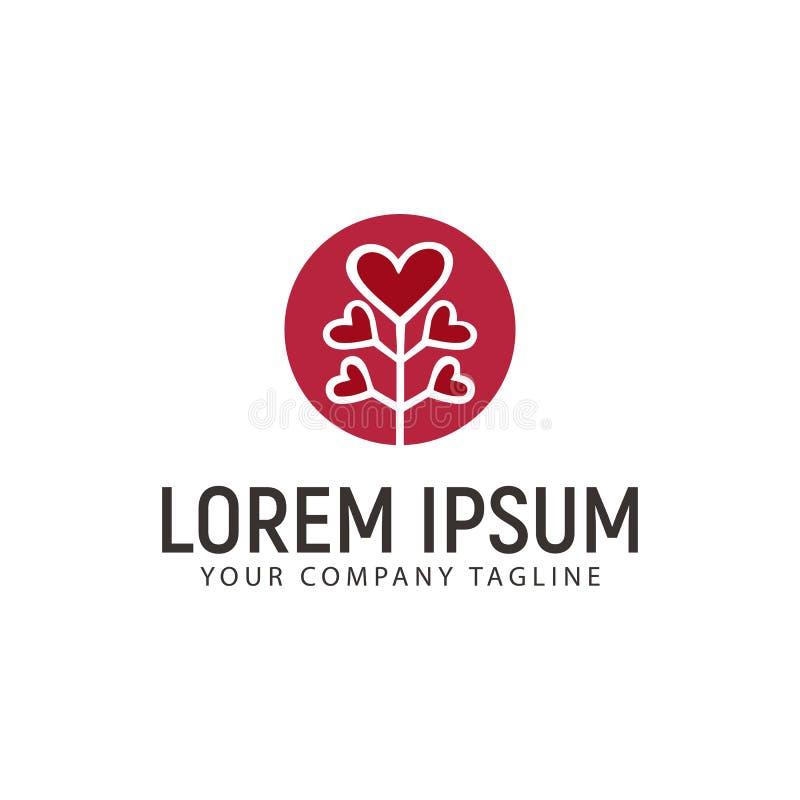 Drzewny miłość logo projekta pojęcia szablon royalty ilustracja