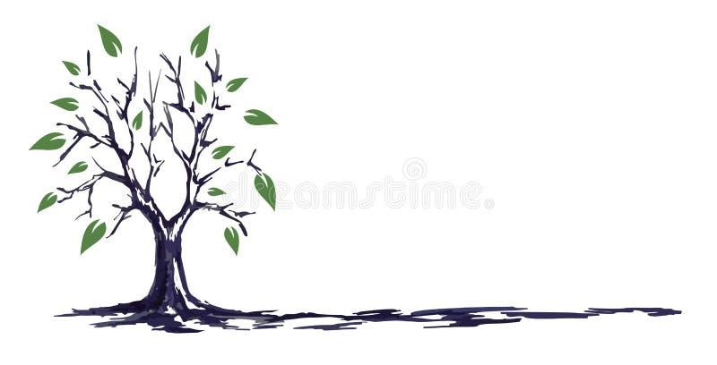 Drzewny nakreślenie royalty ilustracja