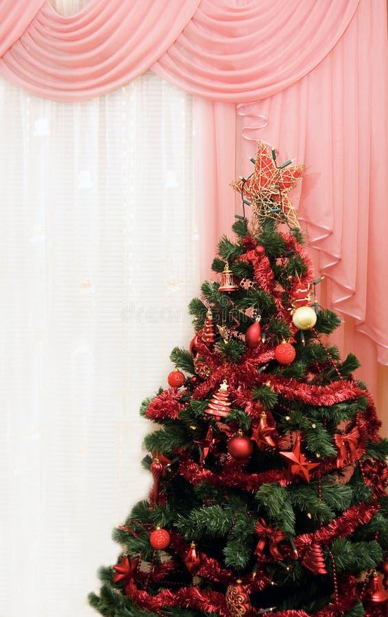drzewny okno następny Boże Narodzenie pokój zdjęcie stock