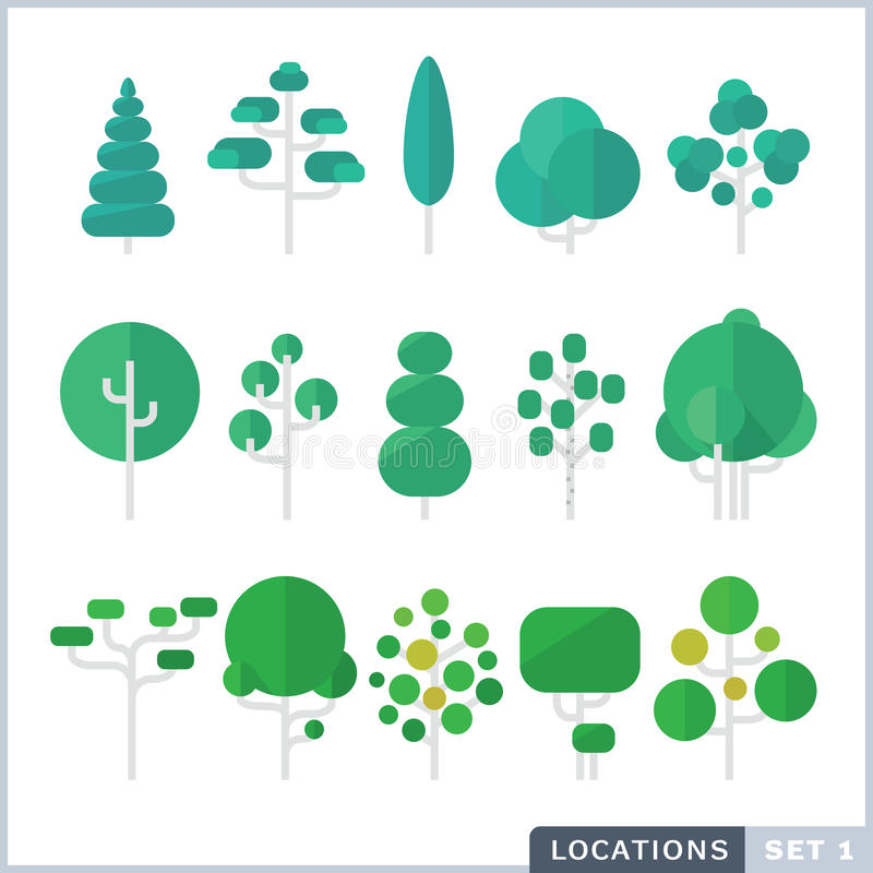 Drzewny Płaski ikona set ilustracji