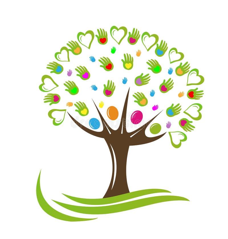 Drzewny serc i ręk wektoru logo royalty ilustracja