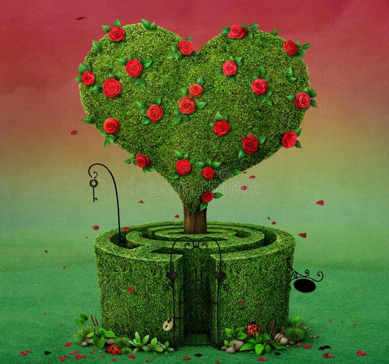 Drzewny serce i labirynt royalty ilustracja