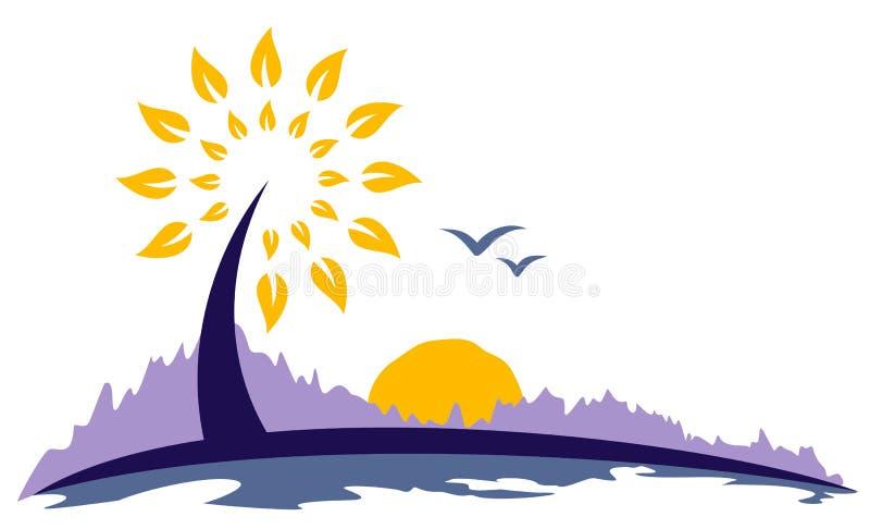 Drzewny symbol od świtu słońce royalty ilustracja