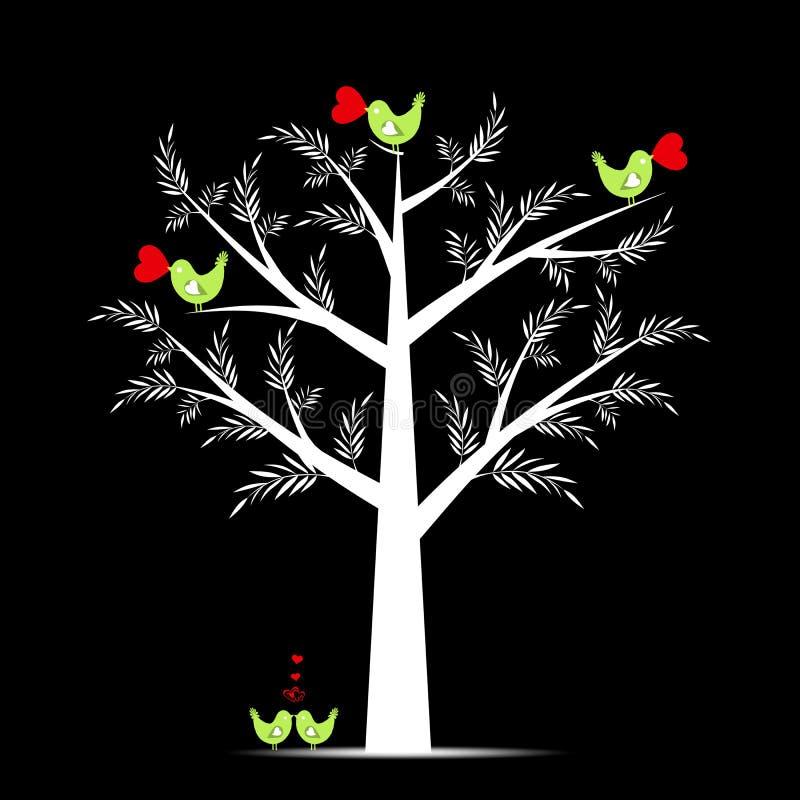 drzewny valentine ilustracja wektor