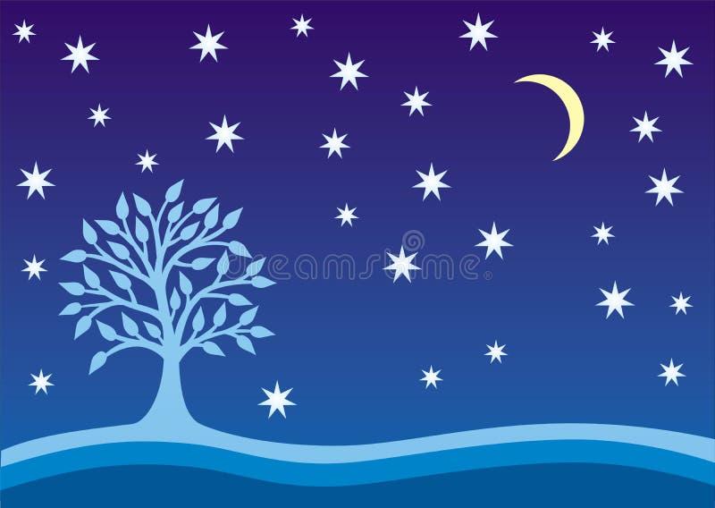 Drzewo życie i gwiazdy na nocnym niebie Symboliczny kolorowy obrazek Wektorowe grafika horyzontalne ilustracja wektor