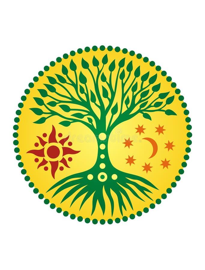 Drzewo życie w słonecznym okręgu mandala duchowy symbol royalty ilustracja