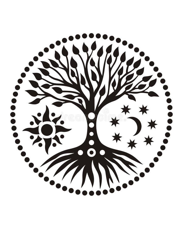 Drzewo życie w słonecznym okręgu mandala duchowy symbol ilustracji