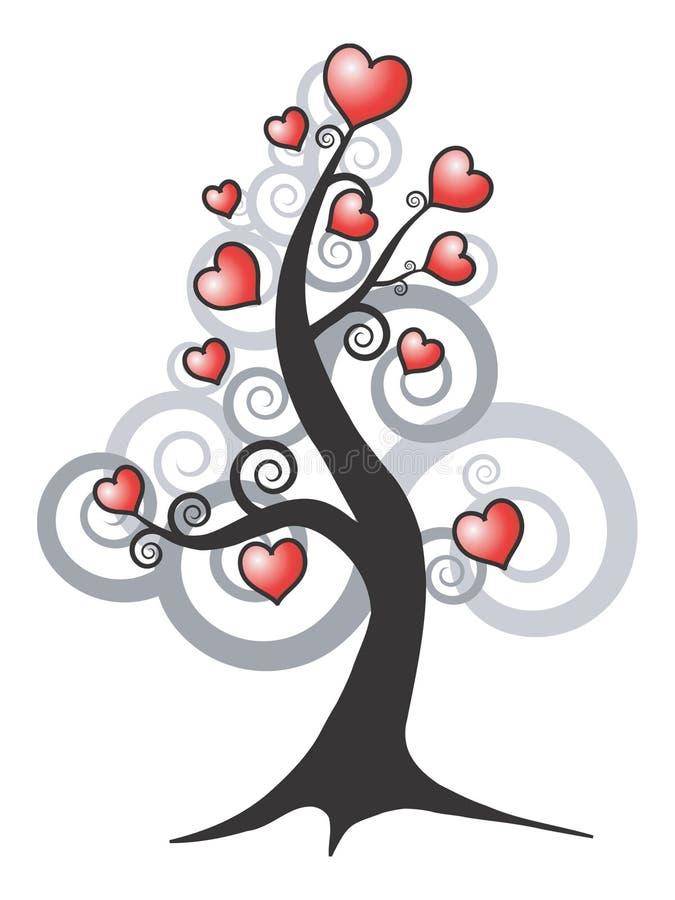 drzewo abstrakcyjne miłości royalty ilustracja
