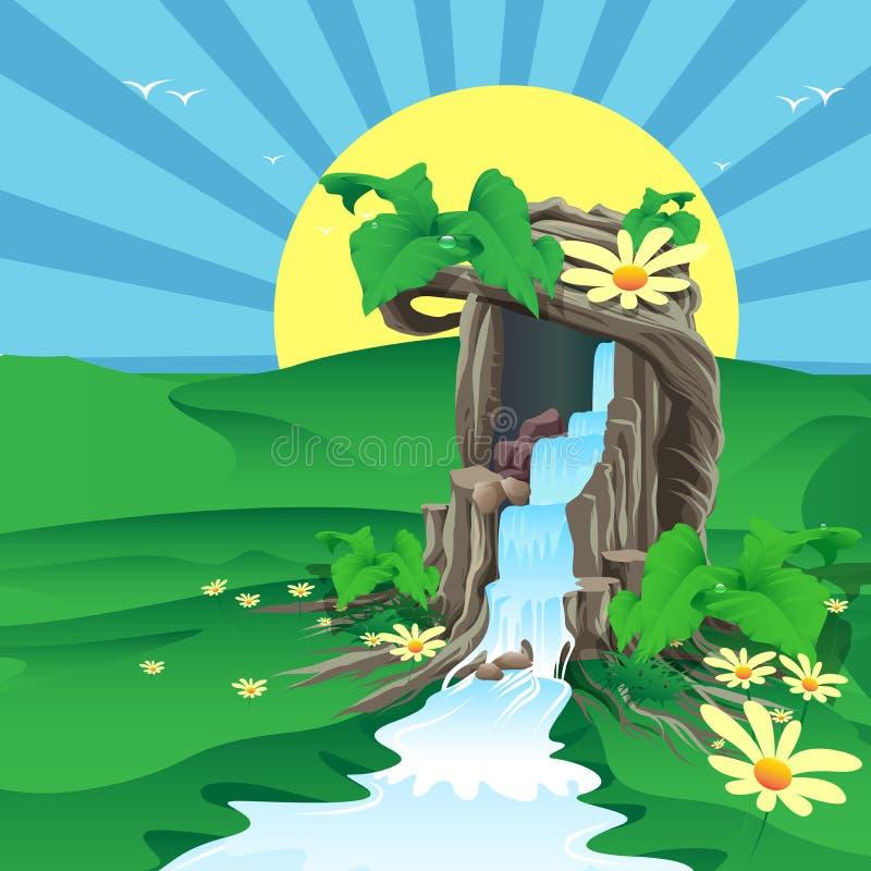 Drzewo był źródłem woda ilustracja wektor