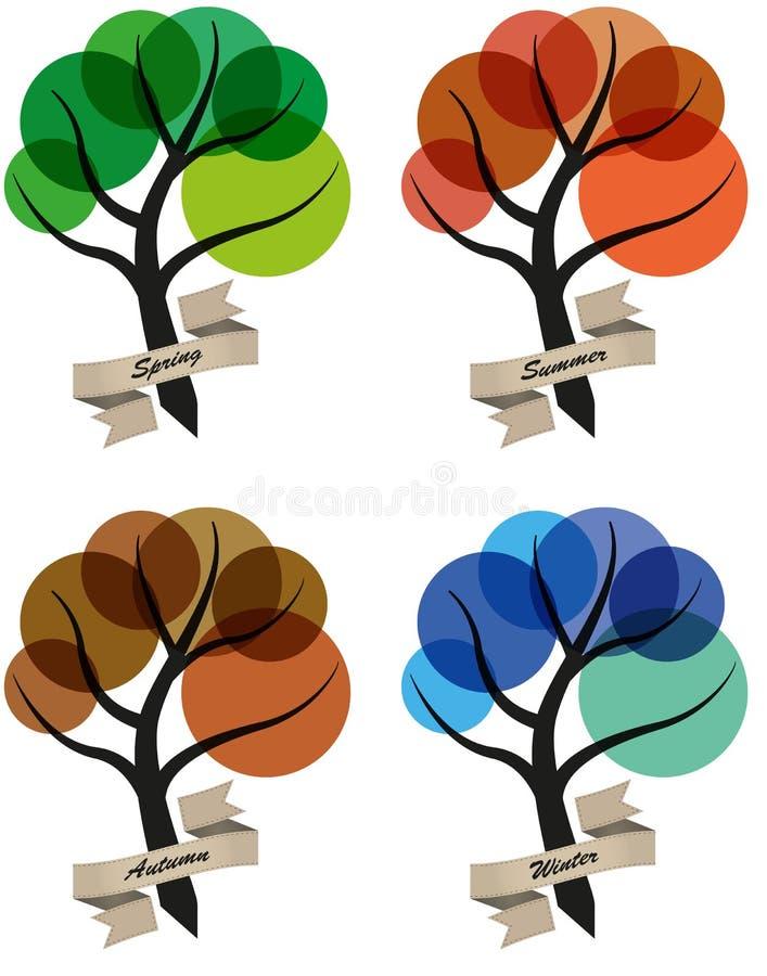 Drzewo cztery sezonu ilustracji