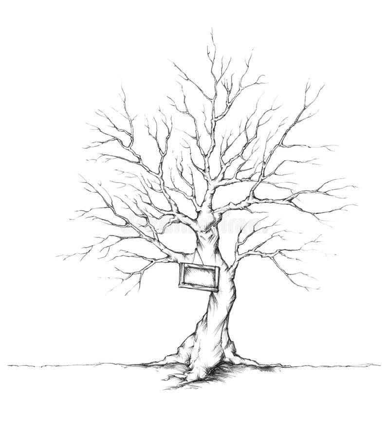 Drzewo dla ślubnych gości z osłoną na bagażniku royalty ilustracja