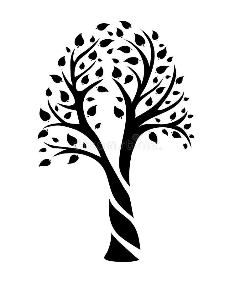 Drzewo forma kwadrat ilustracja wektor