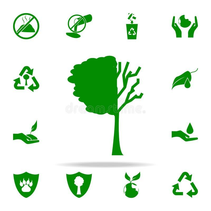drzewo gubjąca liść zielona ikona greenpeace ikon ogólnoludzki ustawiający dla sieci i wiszącej ozdoby royalty ilustracja