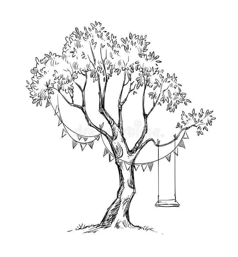 Drzewo i huśtawka Wektorowy nakreślenie royalty ilustracja