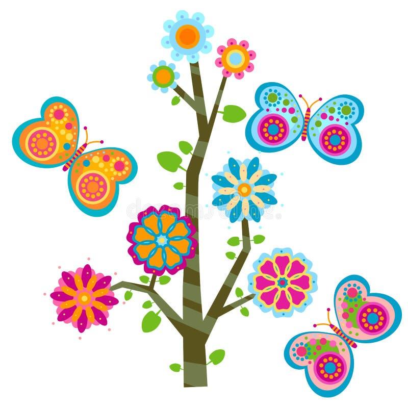 Drzewo i motyle ilustracja wektor