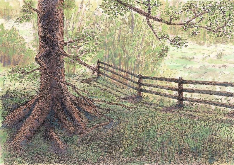 Drzewo i ogrodzenie ilustracji
