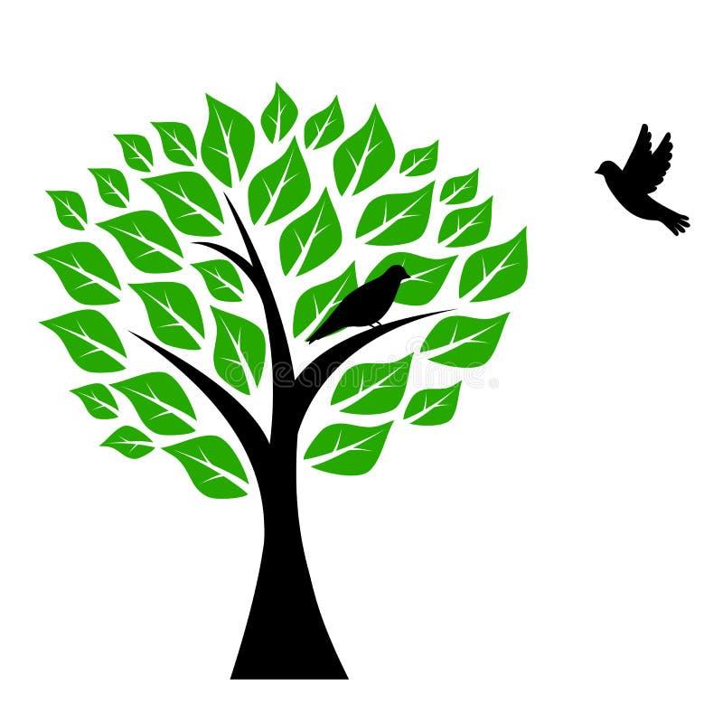 Drzewo i Ptaki royalty ilustracja