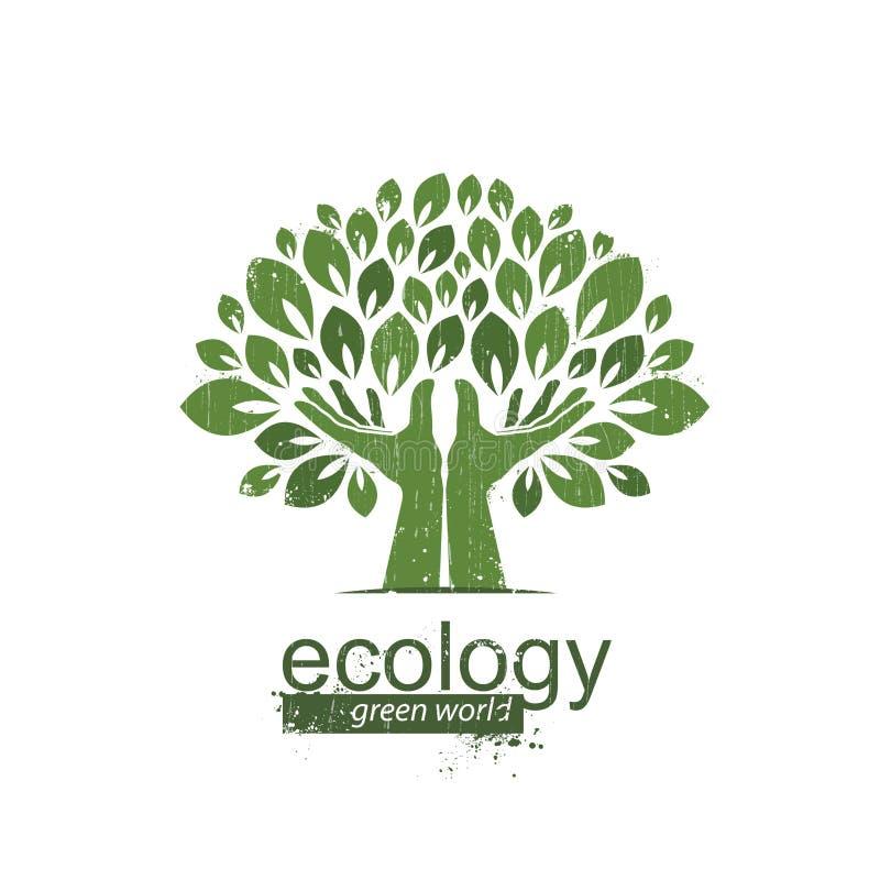 Drzewo i ręki Logo, ikona również zwrócić corel ilustracji wektora ilustracja wektor