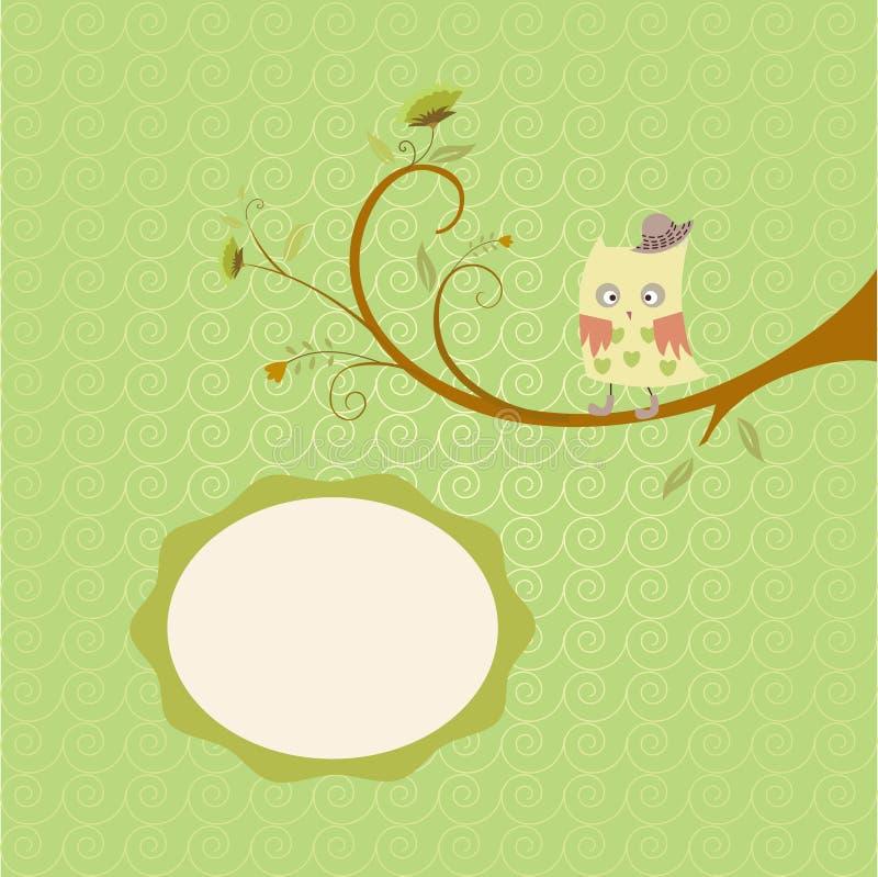 Download Drzewo i sowa ilustracja wektor. Ilustracja złożonej z gałąź - 53777110